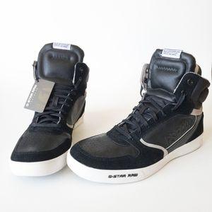 G-Star RAW Yard Pyro Hi Top Black Leathe Sneakers